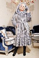 Шуба женская искусственная элегантная №201 серый леопард