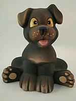 Керамическое изделие из глины ручной работы Копилка собака Собака Друг 20 смх21 см