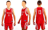 Форма баскетбольная подростковая NBA ROCKETS 13 CO-0038-7 (PL, р-р M-XL, красный)