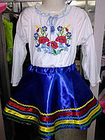 Блуза украинская для девочек (х/б, машинная вышивка)(р.104, 116-60)