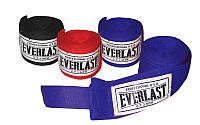 Бинты боксерские (2шт) хлопок с эластаном EVERLAST VL-0003 (l-3м, красный, синий, черный)