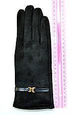 Женские замшевые перчатки  на флисовой подкладке, фото 3