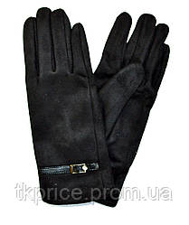 Женские замшевые перчатки  на флисовой подкладке