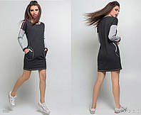 Стильное просторное платье спортивного стиля с карманами