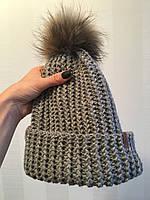 Шапка французкой вязкой ручной работы с меховым балабоном MoziOne