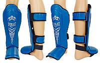 Защита для голени и стопы Муай Тай, ММА, Кикбоксинг кожаная EVERLAST VL-8101-B (р-р M-XL, синий)