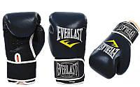 Перчатки боксерские PU на липучке EVERLAST BO-3987-BK (р 10 oz, черны значок белый)