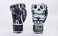 Перчатки боксерские FLEX на липучке EVERLAST SKULL BO-5493-BK (р-р 8-12oz, черный)