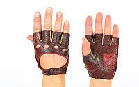 Перчатки спортивные автомобильные кожзам BC-0132-V(L) (откр.пал, р-р M, L, застежка кнопка, вишня)