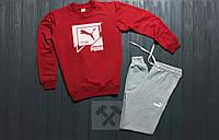 Мужской спортивный костюм Puma 1948 / красный / серый / свитшот + спортивные штаны