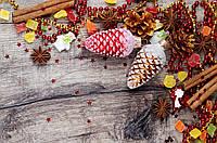 Фотофон виниловый, зимний красные шишки и корица