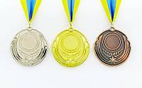 Заготовка медали спортивной с лентой RESULT d-6,5см C-4331 (металл, 30g, 1-золото, 2-серебро, 3-бронза)