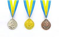 Медаль спортивная с лентой TRIUMF d-5см C-4871 1-золото, 2-серебро, 3-бронза (металл, d-5см, 25g)