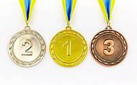 Медаль спортивная с лентой ABILITY d-6,5см C-4841 1-золото, 2-серебро, 3-бронза (металл, 38g)