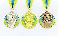 Медаль спортивная с лентой UKRAINE d-6,5см с укр. символикой C-4339 1-золото, 2-серебро, 3-бронза