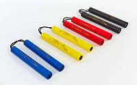 Нунчаку (нунтяку) тренировочные соед. шнуром ВО-5948 (пластик, неопрен, PL, цвета в ассортименте)