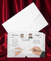 Оригинальные пригласительные в виде развернутой книги для росписи, заказать