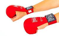 Уценка_Накладки (перчатки) для карате PU EVERLAST U-BO-3956-R(M) (р-р M красный,  манжет на резинке)