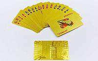Игральные карты золотые IG-4567-G GOLD 500 EURO  (колода в 54 листа, толщина-0,28мм)