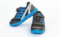 Кроссовки подростковые (р-р 31-36) SPORT OB-4106-BKBL (верх-PL, PVC, подошва-EVA, черный-синий)