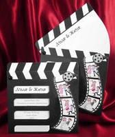 Свадебная пригласительная открытка  в виде кино-хлопушки для съемок кино, заказать
