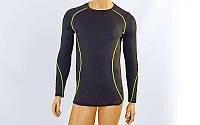 Компрессионная подростковая футболка с длинным рукавом LD-1001T-G (р-р 26-32 (125-135см), черный-салатовый)