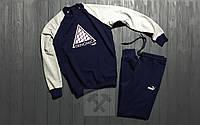 Мужской спортивный костюм Puma Trinomic / комбо / тёмно - синий / серый / свитшот + спортивные штаны