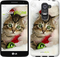 """Чехол на LG G2 mini D618 Новогодний котёнок в шапке """"494u-304-6129"""""""