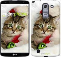 """Чехол на LG G Pro 2 D838 Новогодний котёнок в шапке """"494u-375-6129"""""""
