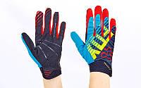 Кроссовые перчатки текстильные FOX BC-4828-1 (закр.пальцы, р-р M-XL, синий-красный-черный)