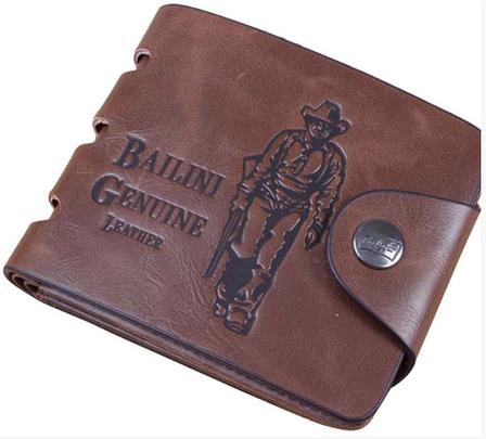 Кожаный мужской кошелек Bailini коричневый, фото 2