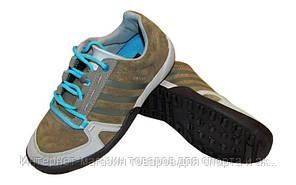 Обувь спортивная женская Кожа Adidas 988-BL (р-р 36-39) (верх-кожа, подошва-TPU, серый-синий)