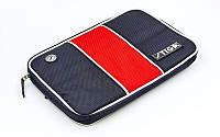 Чехол на ракетку для настольного тенниса STIGA-884901 STRIPE (PL, черно-красный, р-р 30х21см)