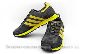 Кроссовки (р-р 40-45) Adidas 301-BK (верх-PL, PVC, подошва-RB, черный-желтый)