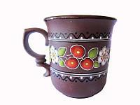 Чашка глиняная большая новая Вишенка (С росписью Вишенка)