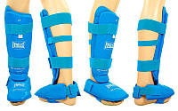 Защита голени с футами для единоборств PU EVERLAST BO-3958-B (р-р S-XL, синий)