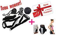 Петли подвесные тренировочные TRX  A-AF5004A + подарок (Чехол-кошелек на руку для бега BP-201-B)