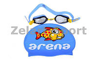 Набор для плавания детский: очки, шапочка ARENA AR-92278-20 MULTI CMBI-ST 2 WD (поликарбонат, TPR,силикон)