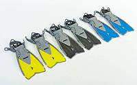Ласты детские с открытой пяткой (пяточный ремень) 450  ZELART ZP-450 (р-р S-MD(27-31) - L-XL(32-37), желтый, синий, черный)
