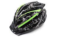 Велошлем кросс-кантри с механизмом регулировки  ZELART HB31-A (EPS, пластик, PVC, M-55-58, L-58-61, черный-сал)