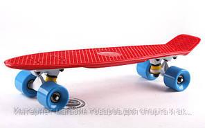 Скейтборд пластиковый Penny Original FISH 22in однотонная дека SK-401-24 (красный-белый-синий)