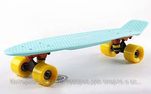 Скейтборд пластиковый Penny Original FISH 22in однотонная дека SK-401-25 (Pastel мятный-черный-желт)