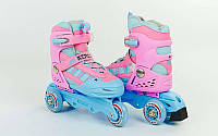 Роликовые коньки раздвижные детские KEPAI SK-321P (р-р S-28-31, M-32-35) PL, PVC, колесо PU, изменен. полож. колес, розовый)