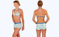 Купальник для девочек пляжный ARENA AR-15673-18 LETTERING (возраст 6-14 лет, белый-синий)