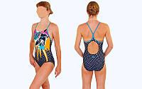 Купальник для девочек спортивный ARENA AR-23930-58 OCEAN (возраст 6-14 лет, черный-красный)