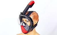 Маска для снорклинга с дыханием через нос F-118-BKR (силикон, пластик, крепление для камеры, р-р S-M, L-XL, черный-красный)