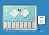 План (схема) рассадки гостей на свадьбе мятного цвета