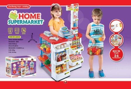 Детский игровой набор Магазин668-02, с кассой, прилавком и продуктами