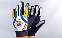 Перчатки вратарские юниорские FB-0028-03 BARCELONA (PVC, PL, р-р 5-8, белый-синий-черный)