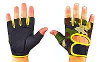 Перчатки для фитнеca TKO ВС-894-G (нейлон, открытые пальцы, р-р S-XL, камуфляж зеленый-желтый)